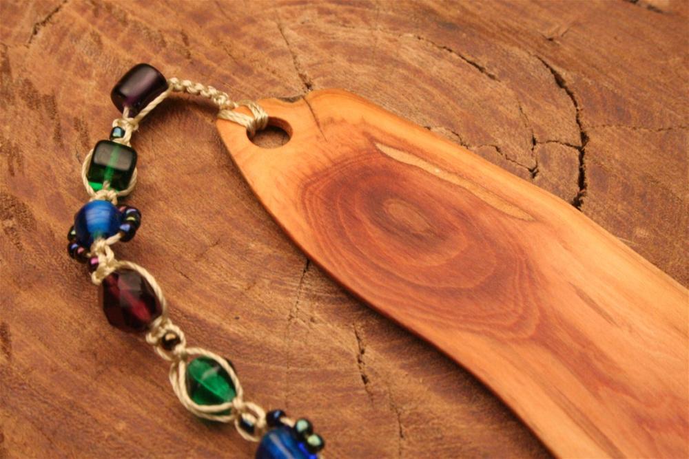 Wooden bookmark of Manzanita wood with hand made beaded tassel